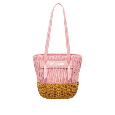 Miu Miu Nappa Leather And Wicker Bucket Bag In Pink+Honey  0f4fb5517fa69