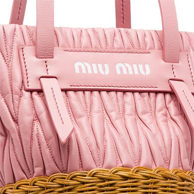 1e9925ed48d Miu Miu Nappa Leather And Wicker Bucket Bag In Pink+Honey