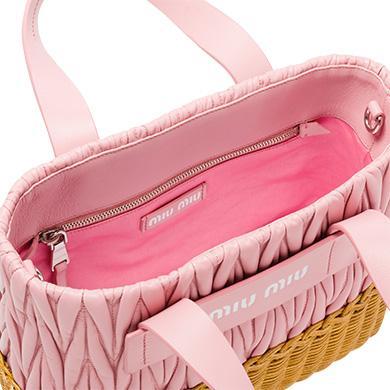 9b5f0b9b7e0 Miu Miu Nappa Leather And Wicker Bag In Pink+Honey