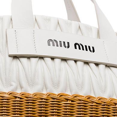 e02e7de78fb Miu Miu Nappa Leather And Wicker Bag In White+Honey