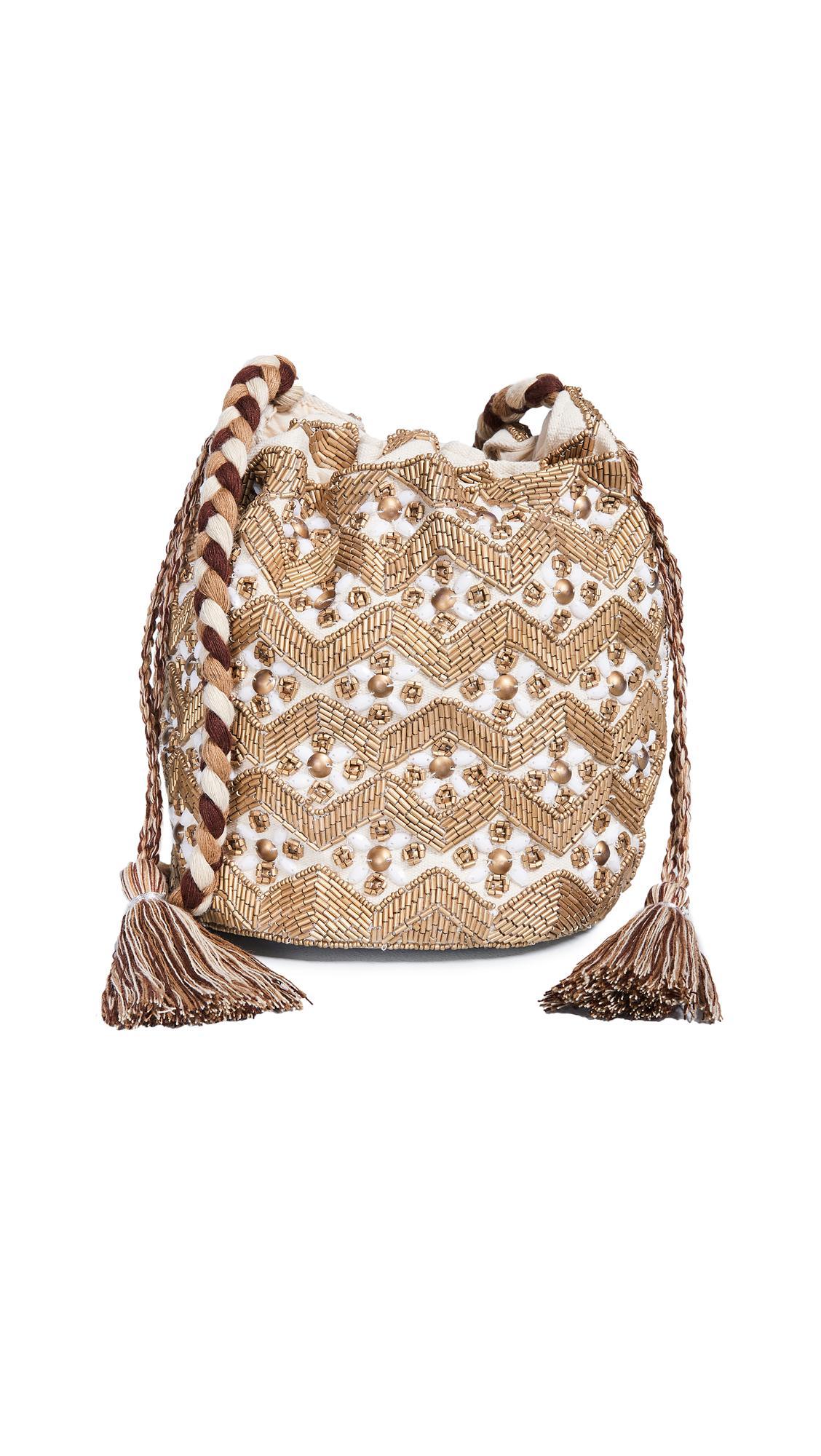 Sam Edelman Abela Beaded Bucket Bag In Gold Multi Modesens