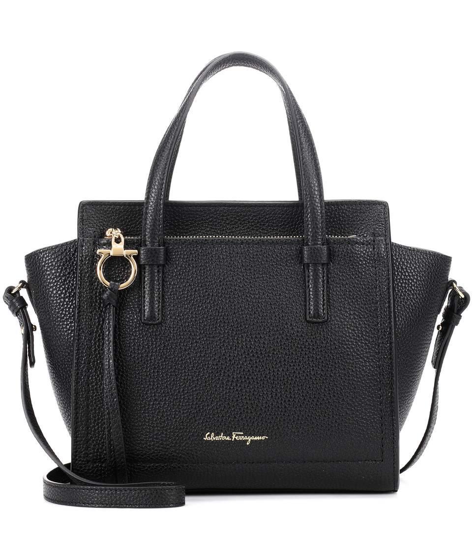 e1a21b050 Salvatore Ferragamo Small Amy Pebbled Leather Tote - Black | ModeSens