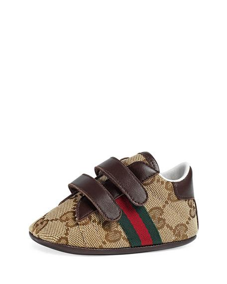 Gucci New Ace Gg Canvas Grip-Strap Sneaker, Baby In Original Gg