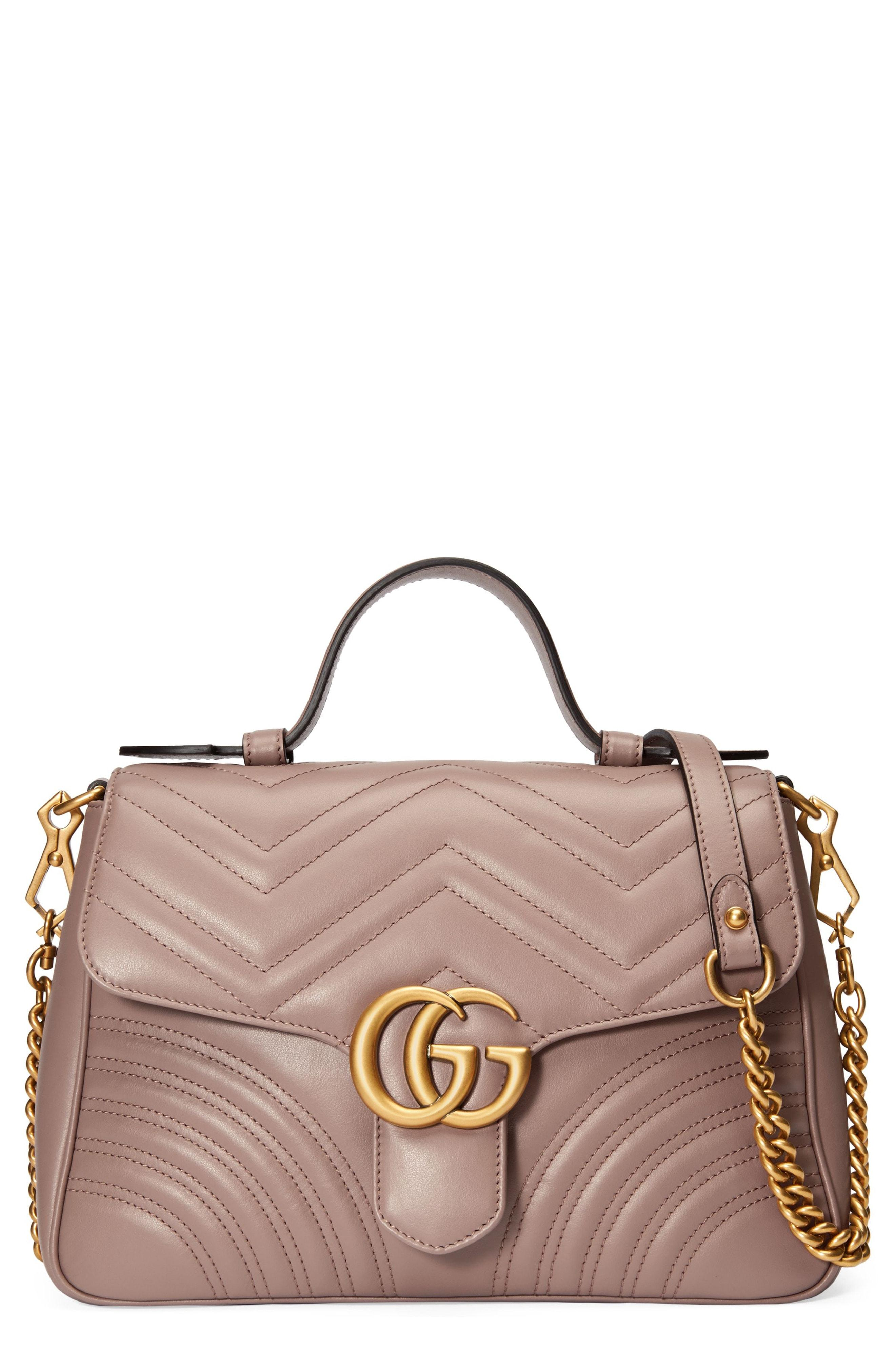 5b4a4c54e098 Gucci Gg Marmont Small Chevron Quilted Top-Handle Bag With Chain Strap In  Pink