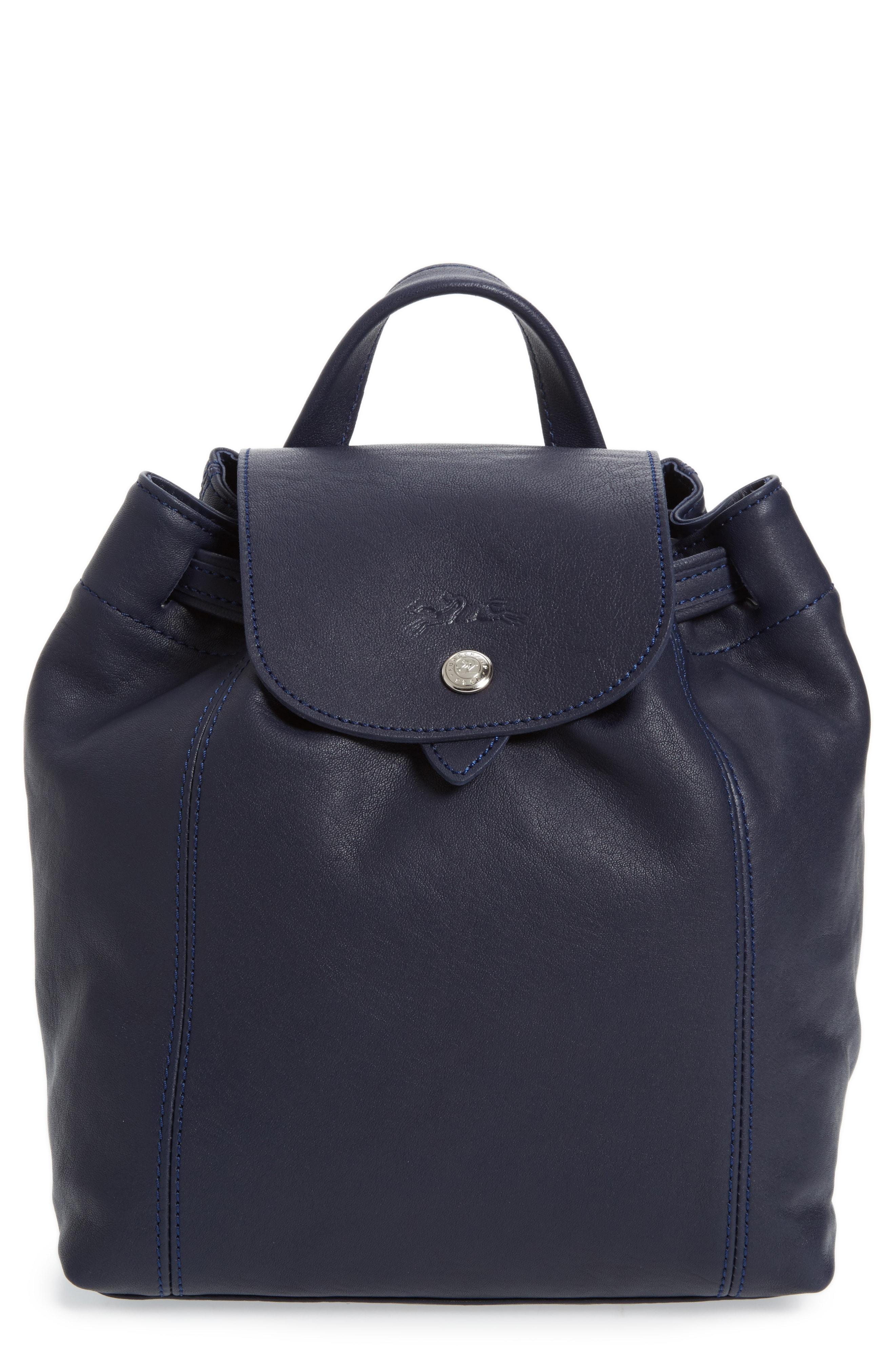 Extra Small Le Pliage Cuir Backpack In Navy