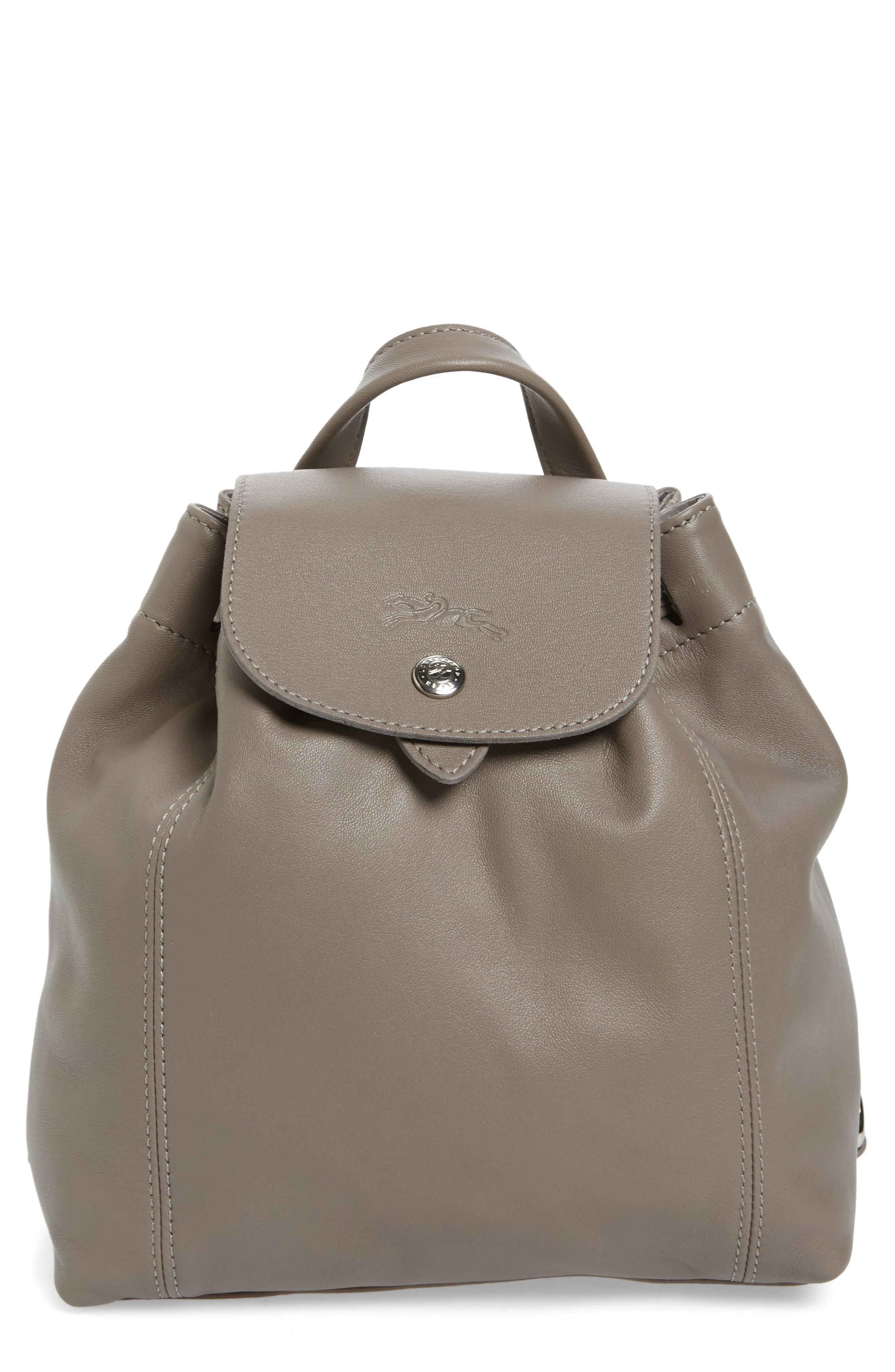 Extra Small Le Pliage Cuir Backpack - Grey In Pebble