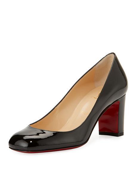 CHRISTIAN LOUBOUTIN CADRILLA PATENT BLOCK-HEEL RED SOLE PUMP,PROD127750183