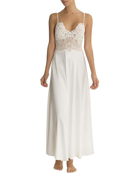 907c5d443 Jonquil Jasmine Lace-Trim Long Nightgown In Ivory