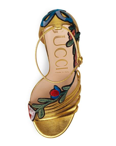 fdc3bca81 Gucci Ophelia Leather Ankle-Strap Sandals - Oro