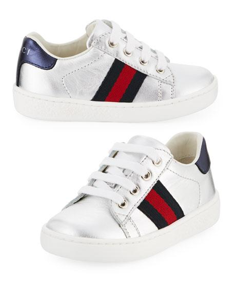 Gucci New Ace Metallic Leather Sneaker, Toddler In Silver