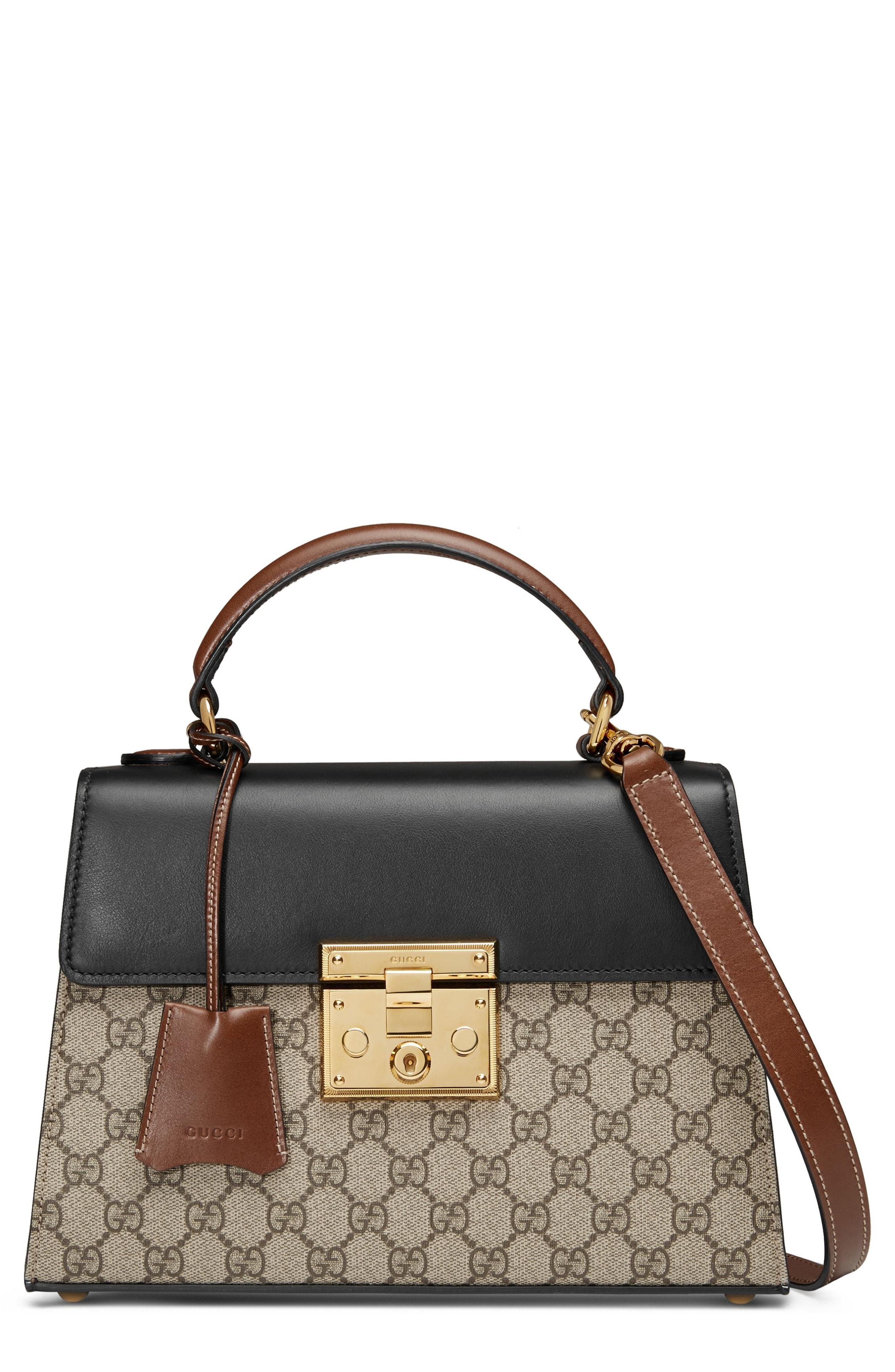 a0422e79f4cf Gucci Small Padlock Gg Supreme Canvas   Leather Top Handle Satchel - Beige  In Neutrals