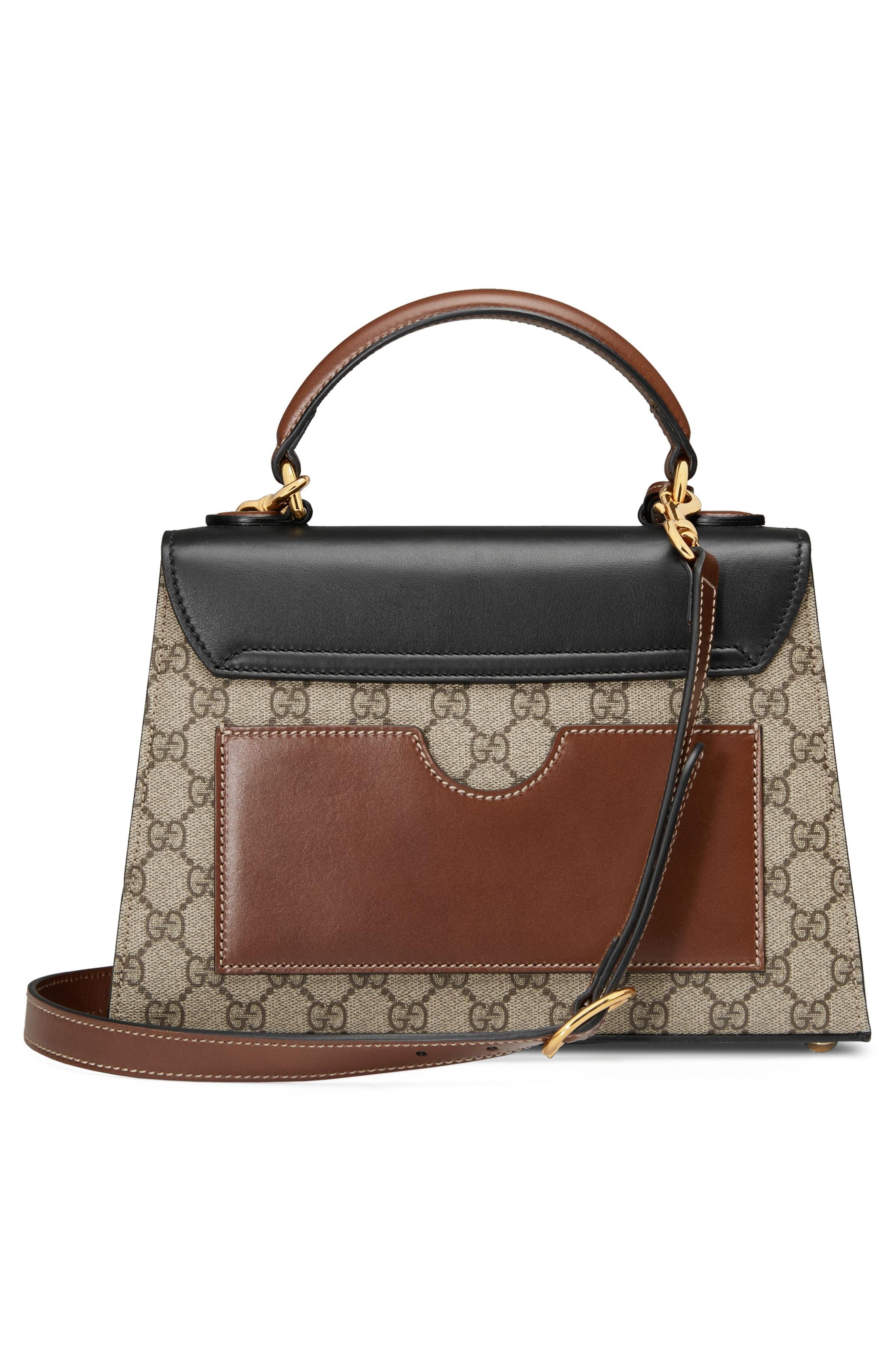c2c2e1bfc124 Gucci Small Padlock Gg Supreme Canvas   Leather Top Handle Satchel ...