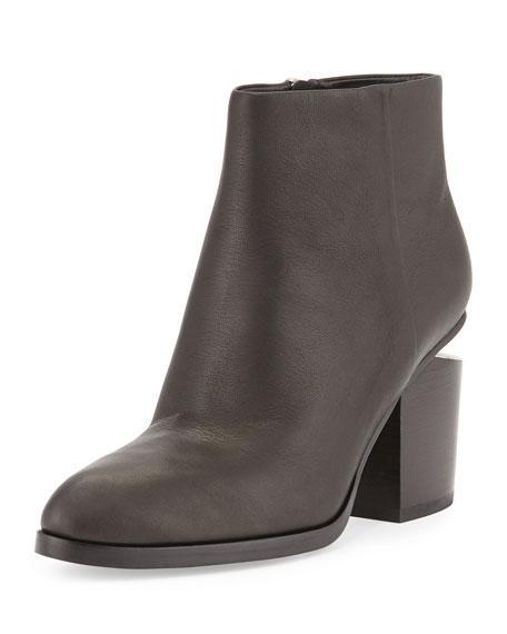 Alexander Wang Gabi Tilt-Heel Leather Boots, Black/Rhodium