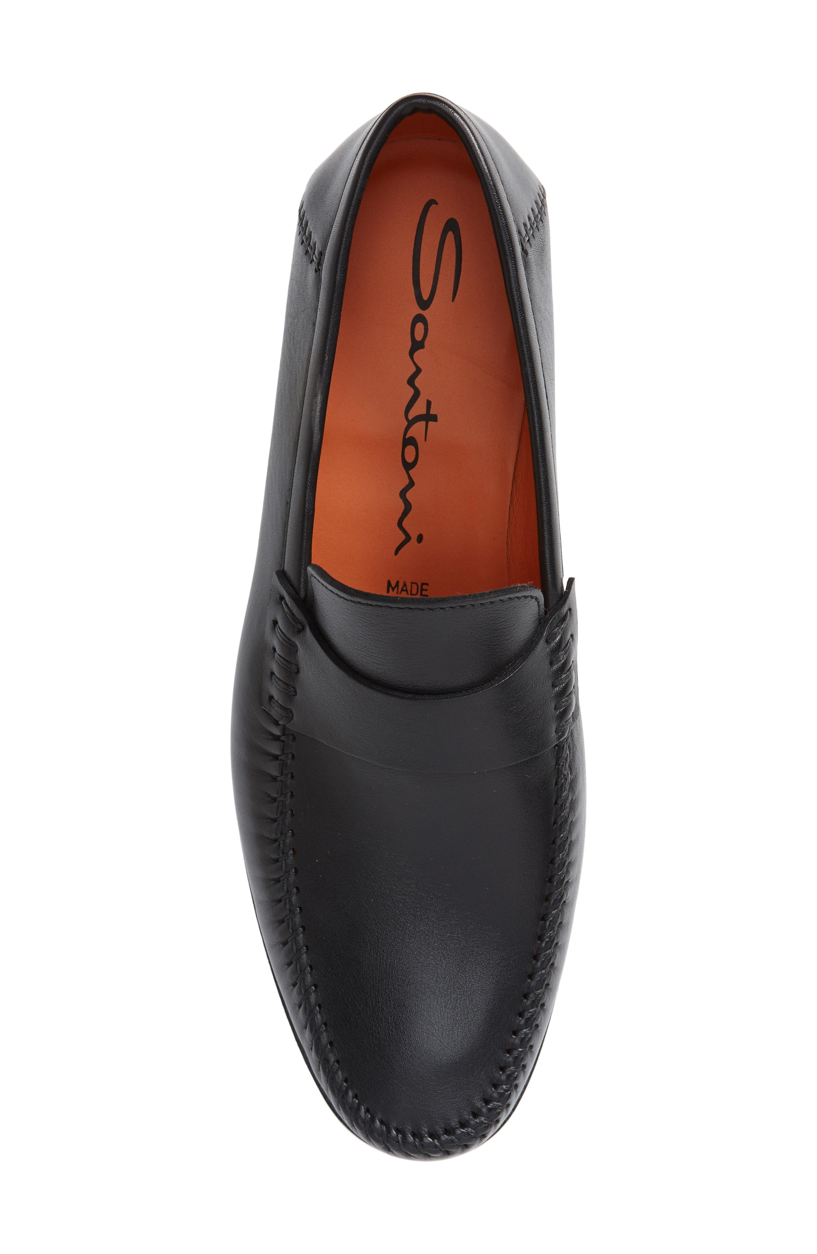 afd1e096ac0 Santoni  Paine  Loafer In Black Leather