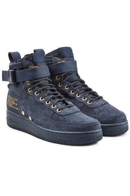 Nike Sf Air Force 1 High Top Sneakers With Suede And Mesh In Blue