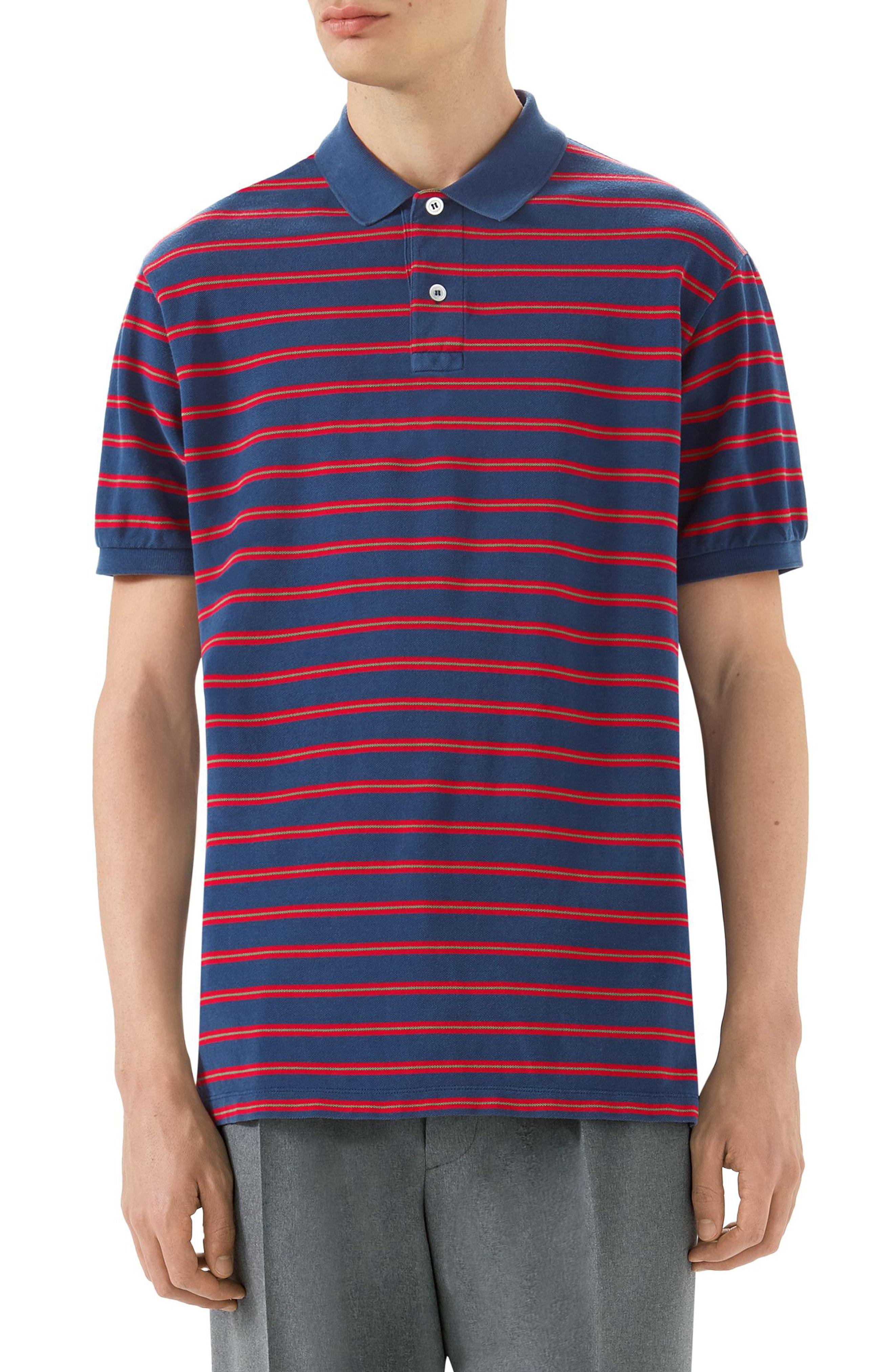 b3bf7119fd9c Gucci Stonewashed Stripe Polo Shirt In Blue
