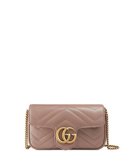 Gucci Supermini Gg Marmont 2.0 Matelasse Leather Shoulder Bag - Red In Dusty Pink Chevron Leather
