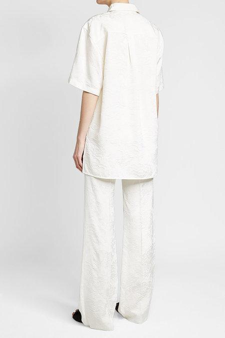 4b1427ccd519f Victoria Beckham Short Sleeve Shirt In Cotton And Silk In White ...