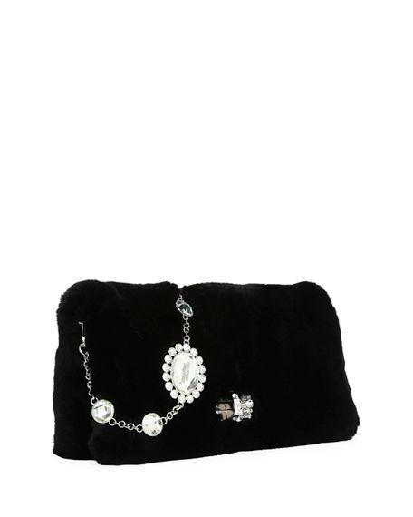 Miu Miu Crystal-Embellished Fur Shoulder Bag In Black  50dd4de0acd96
