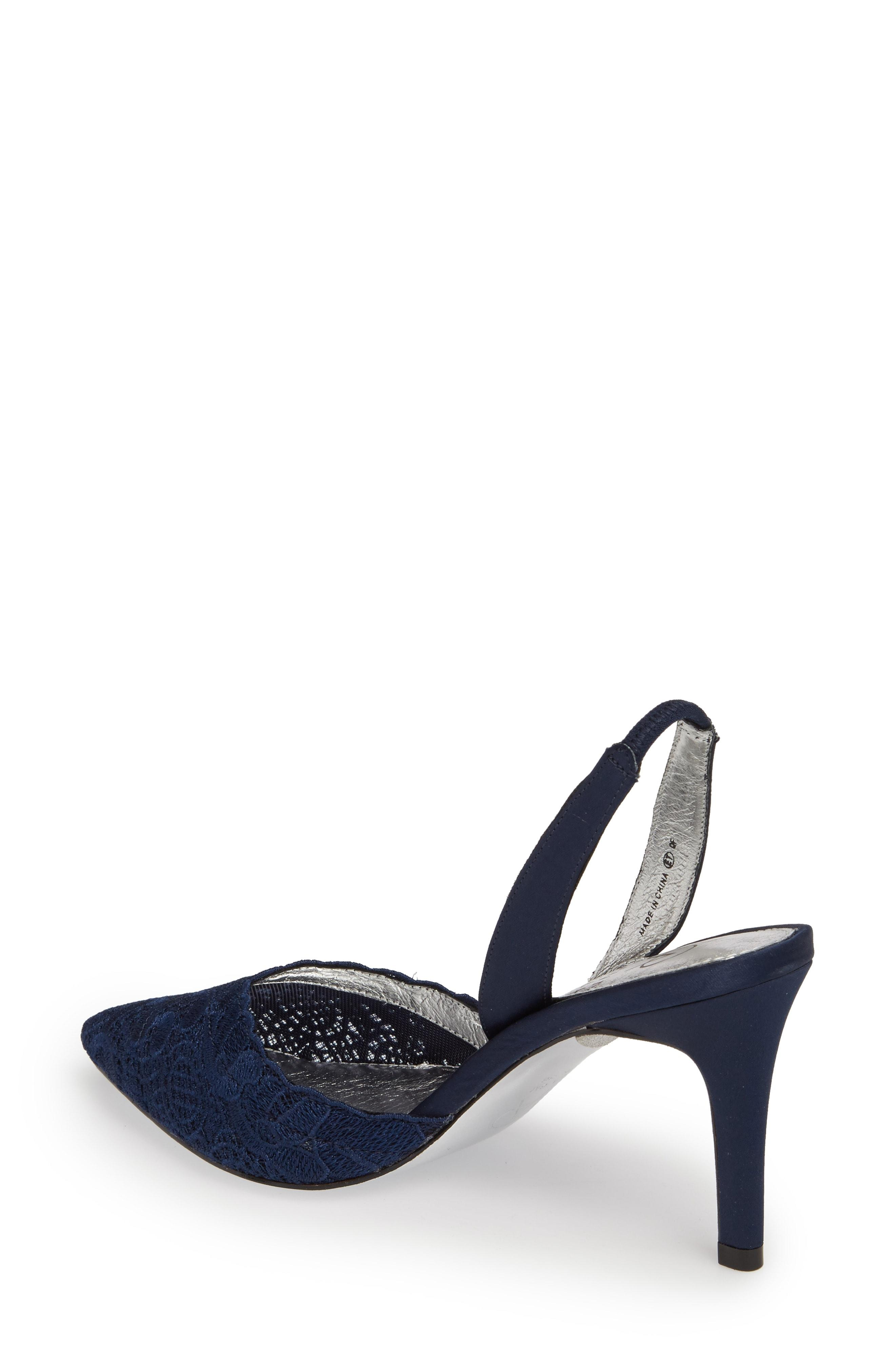 9123a338248 Adrianna Papell Hallie Slingback Pump In Navy Attalie Lace Fabric ...