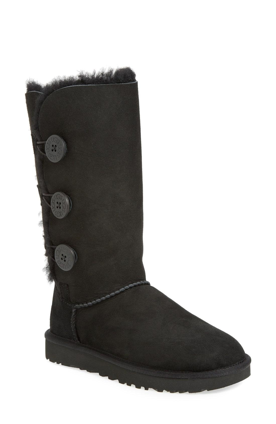 ac54a26a9c7 Women's Bailey Button Triplet Sheepskin Mid Calf Boots in Black Suede