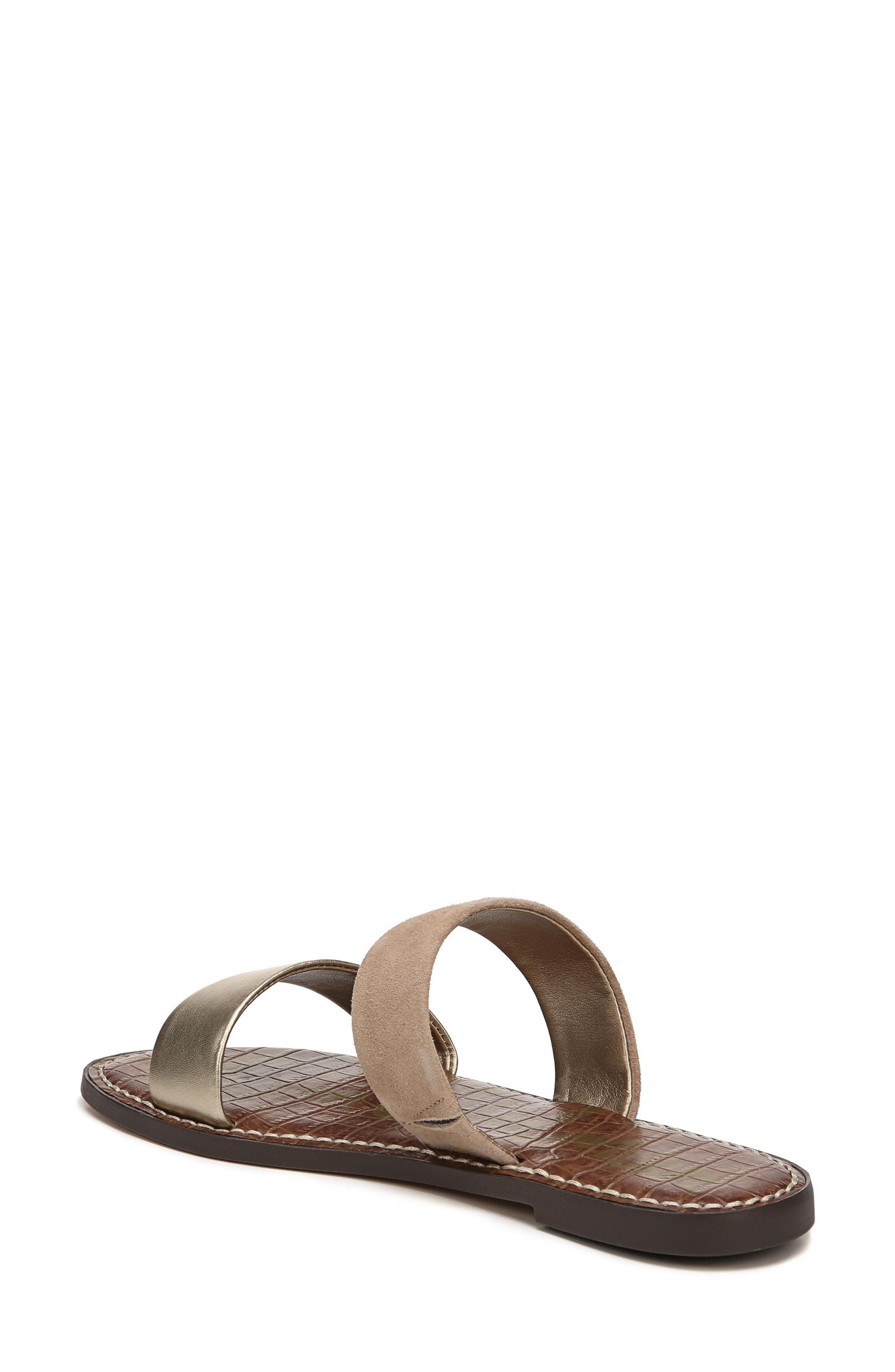 4e14bab9b Sam Edelman Women S Gala Leather   Suede Slide Sandals In Gold  Nude ...