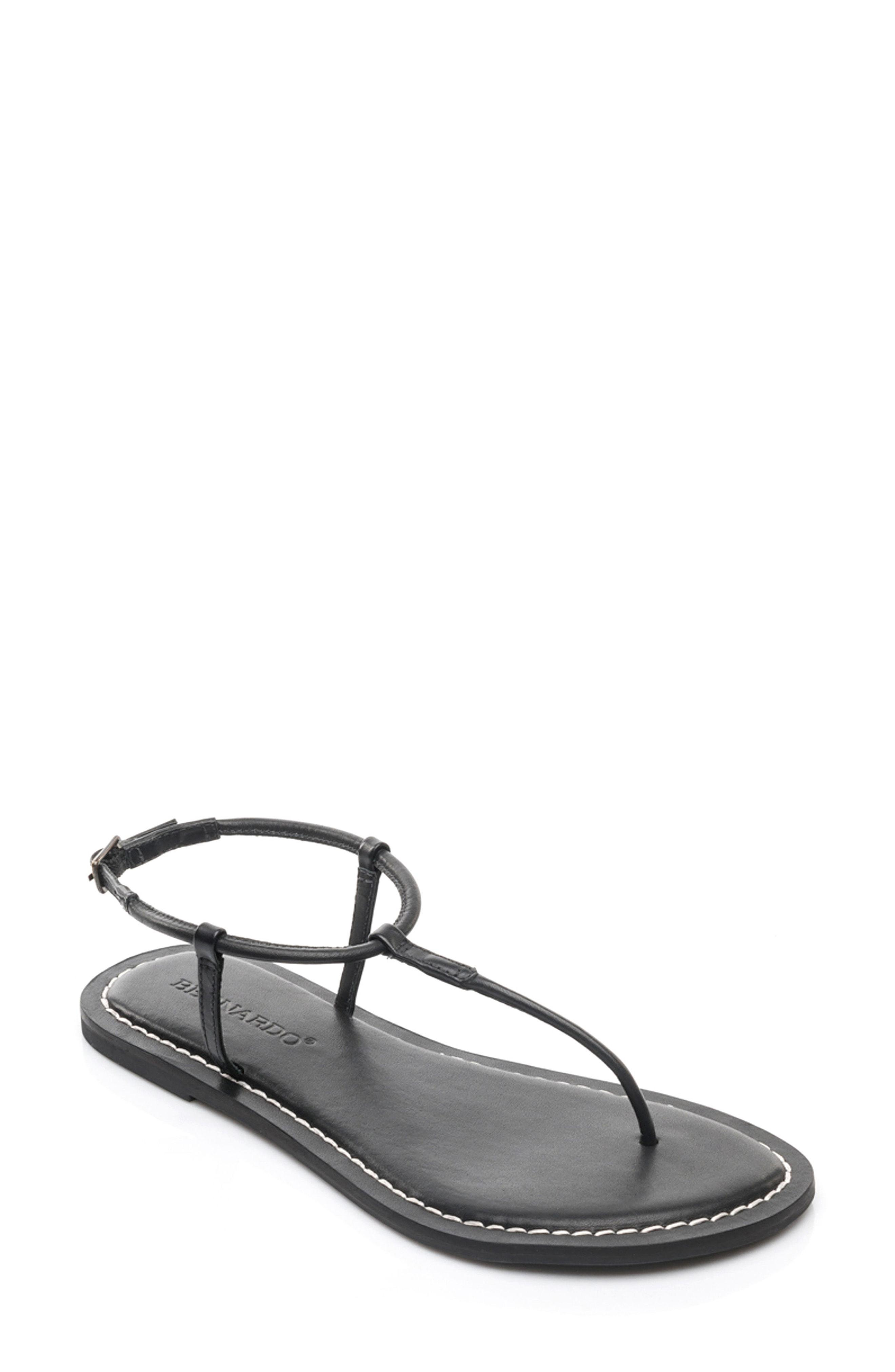 8fdf1734dfc Bernardo Lilly T-Strap Thong Sandals In Black Leather