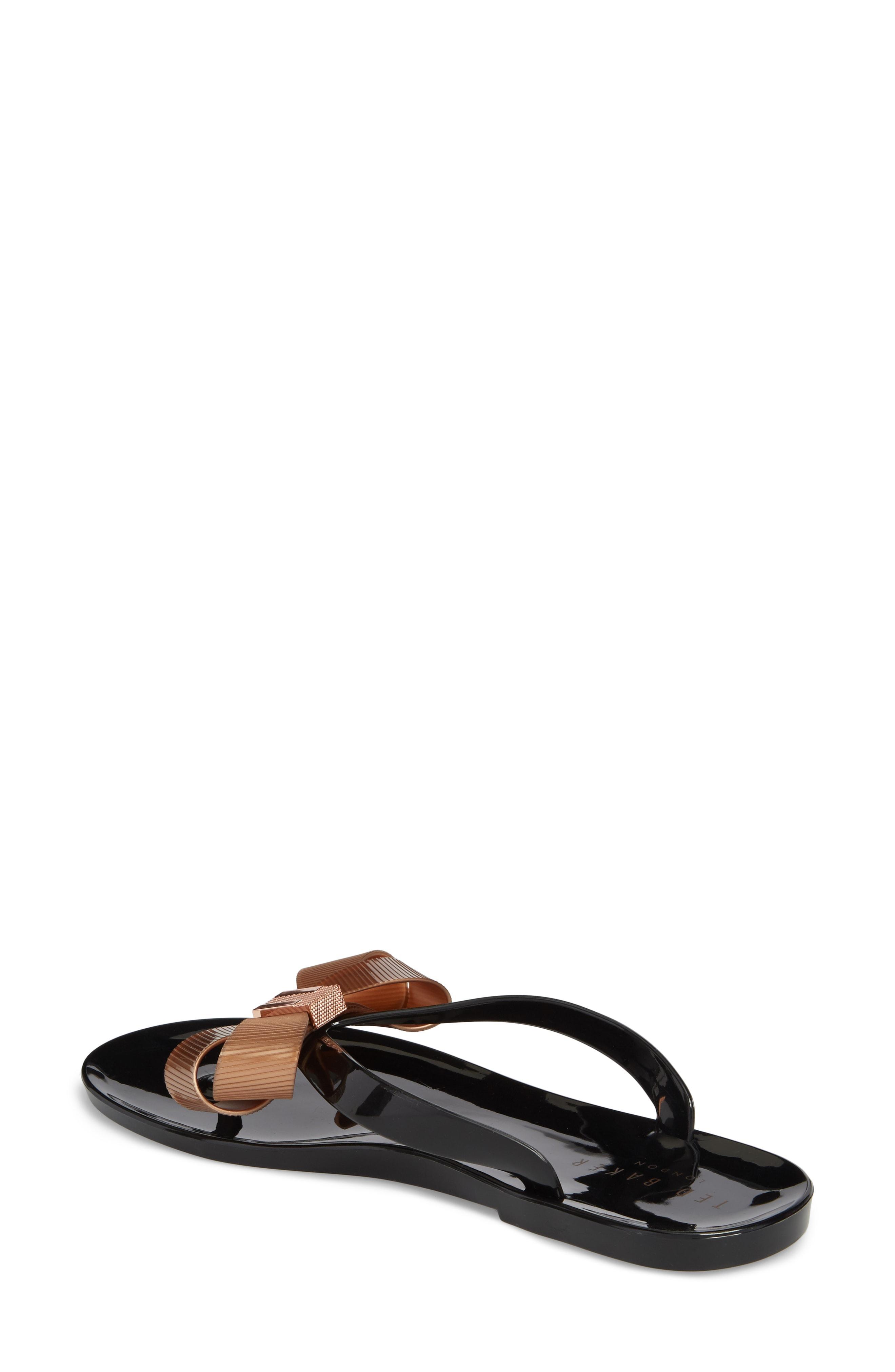3b7202fc7b92 Ted Baker Camaril Black T-Bar Bow Flat Sandals - Black