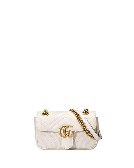 Gucci Mini Gg Marmont 2.0 MatelassÉ Leather Shoulder Bag In White
