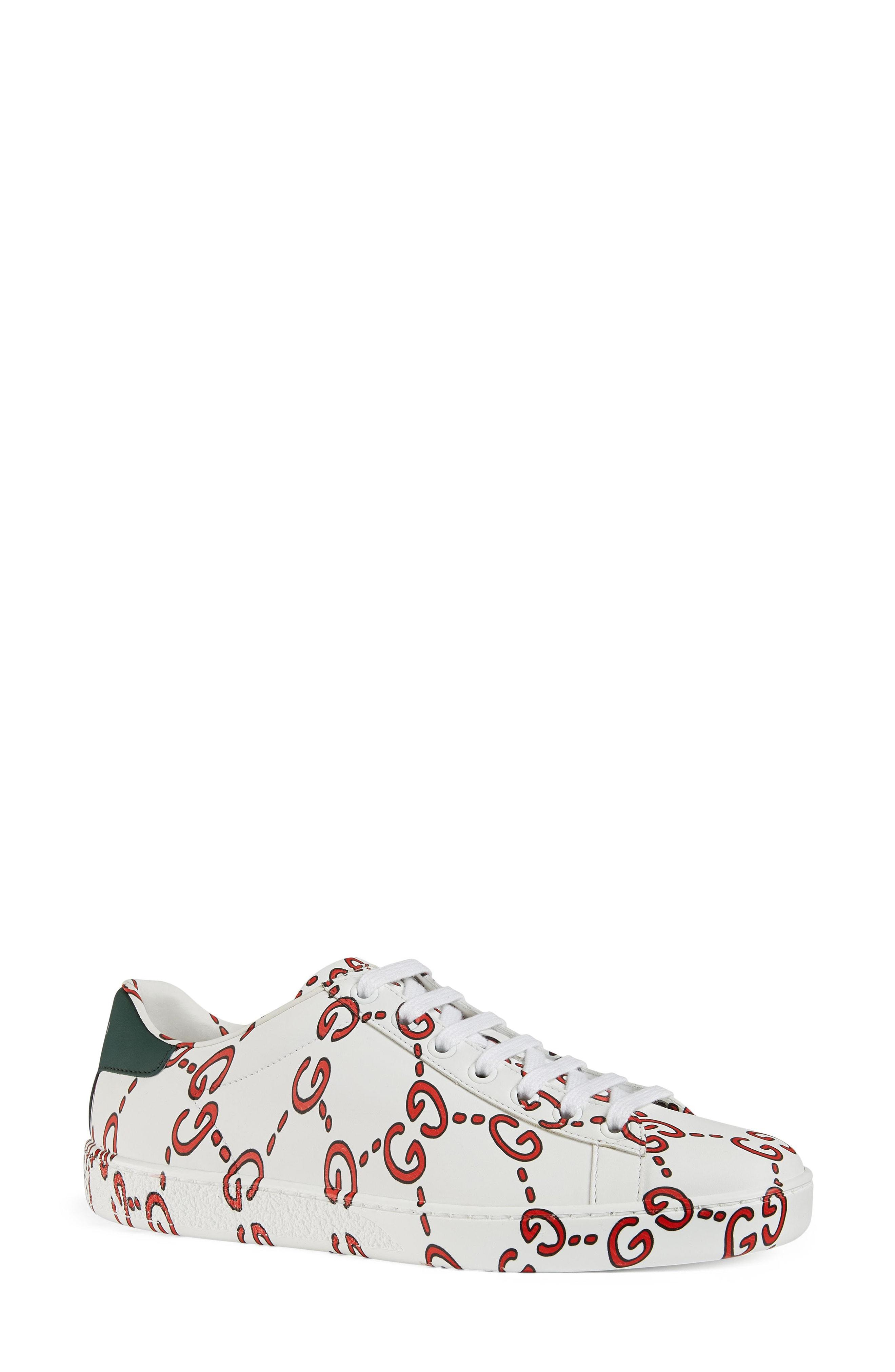 b72aa4e58f8 Gucci Women s New Ace Gg Print Leather Lace Up Sneakers In White ...