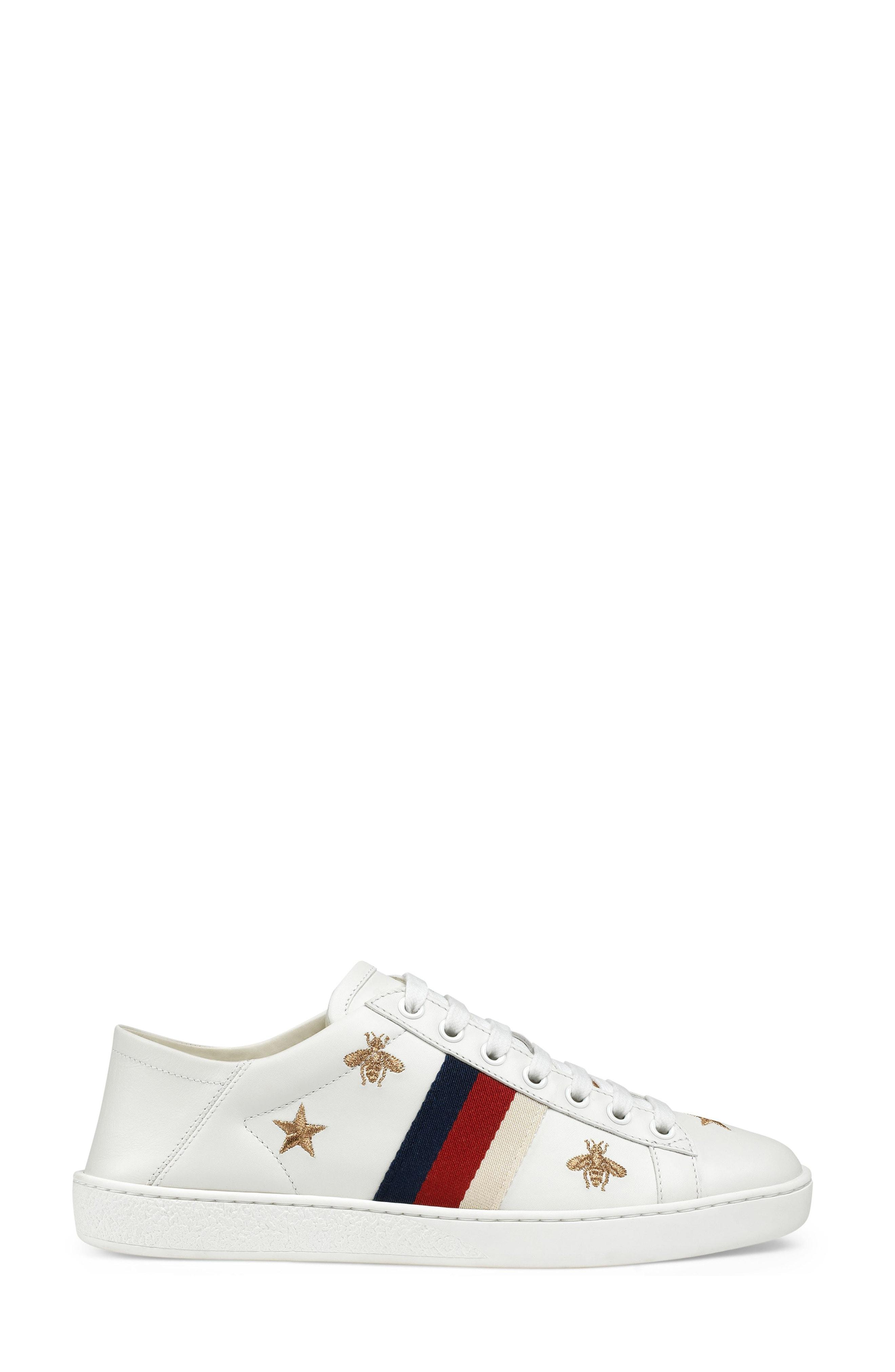 f34ab6ce9fd Gucci Ace Embroidered Leather Collapsible-Heel Sneakers In White ...