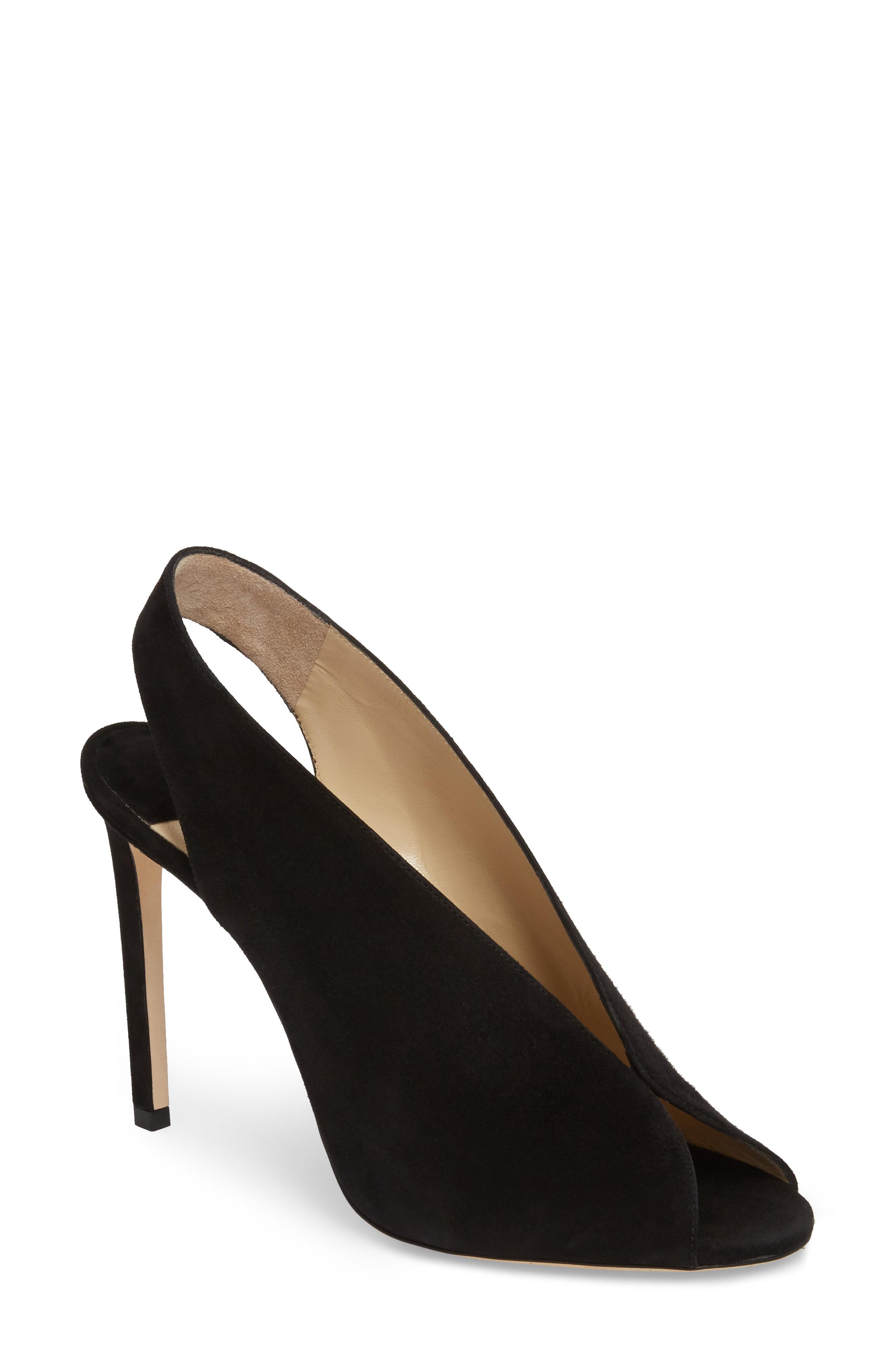 8be753221b4 Jimmy Choo Shar 85 Peep-Toe Suede Slingback Sandals In Black