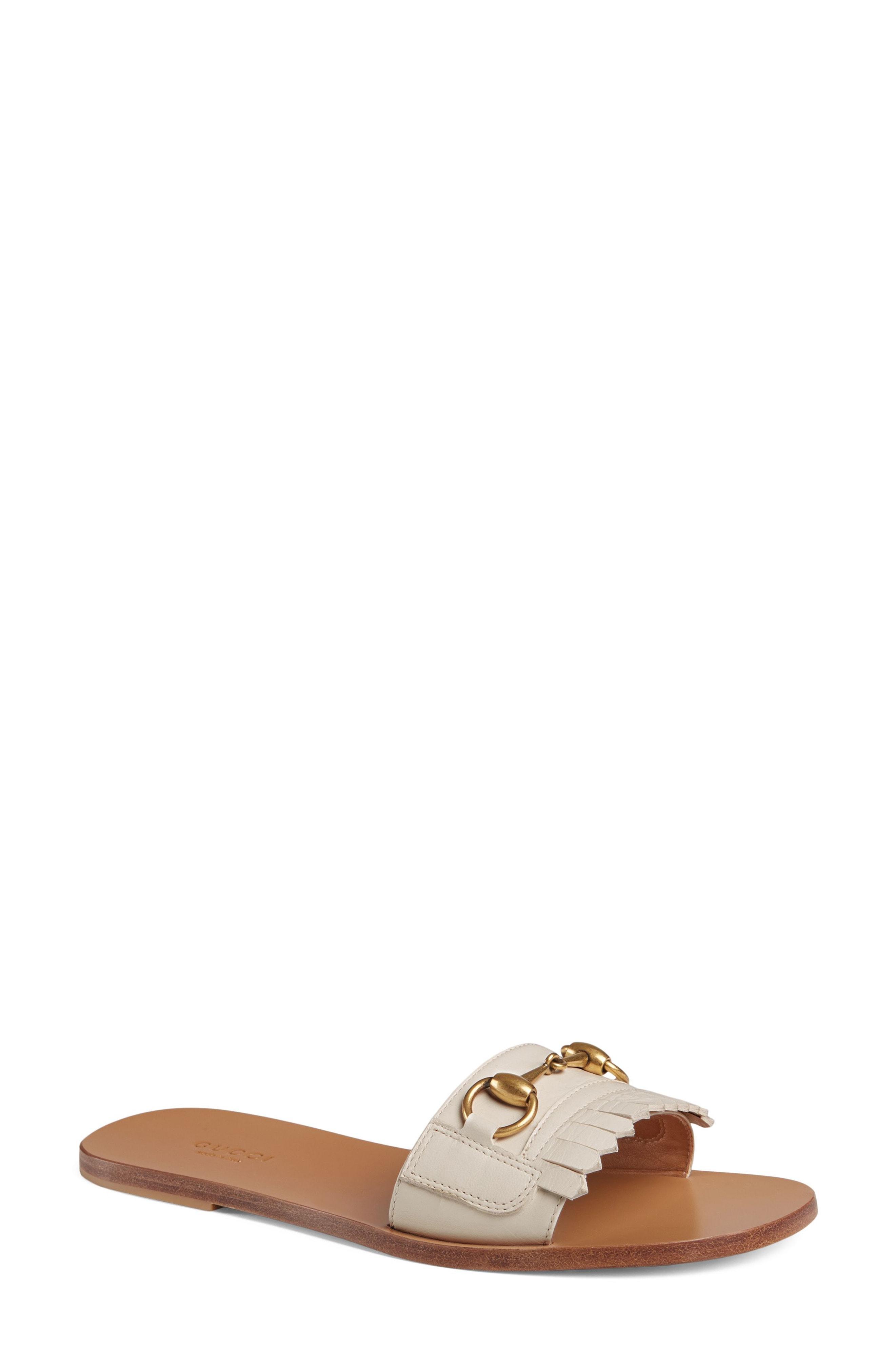 9d6306118 Gucci Women s Varadero Fringe Leather Slide Sandals In 9110 White ...