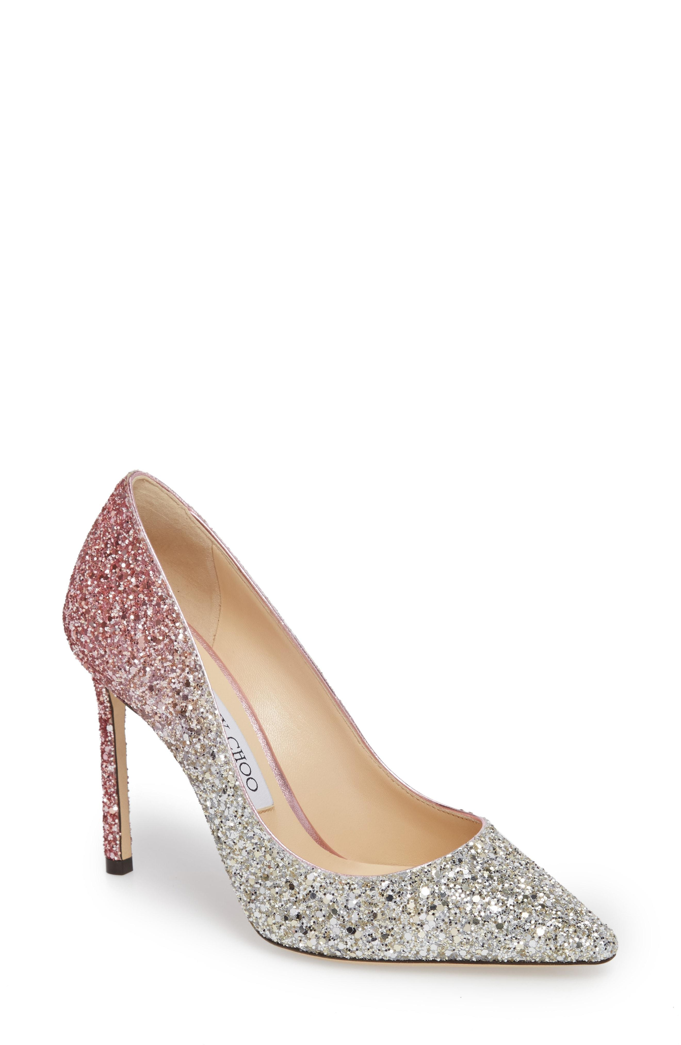 b89edc95f7d Jimmy Choo Romy 100 Platinum And Flamingo Ice Glitter DÉGradÉ Fabric Pointy  Toe Pumps In Silver