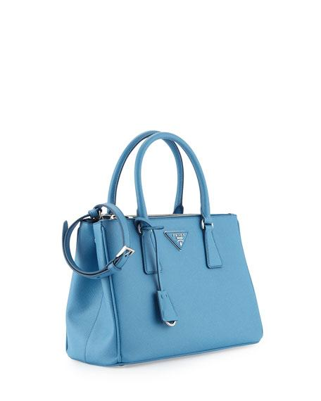 6142a25a4d94 Prada Saffiano Lux Small Double-Zip Tote Bag, Light Blue (Mare ...