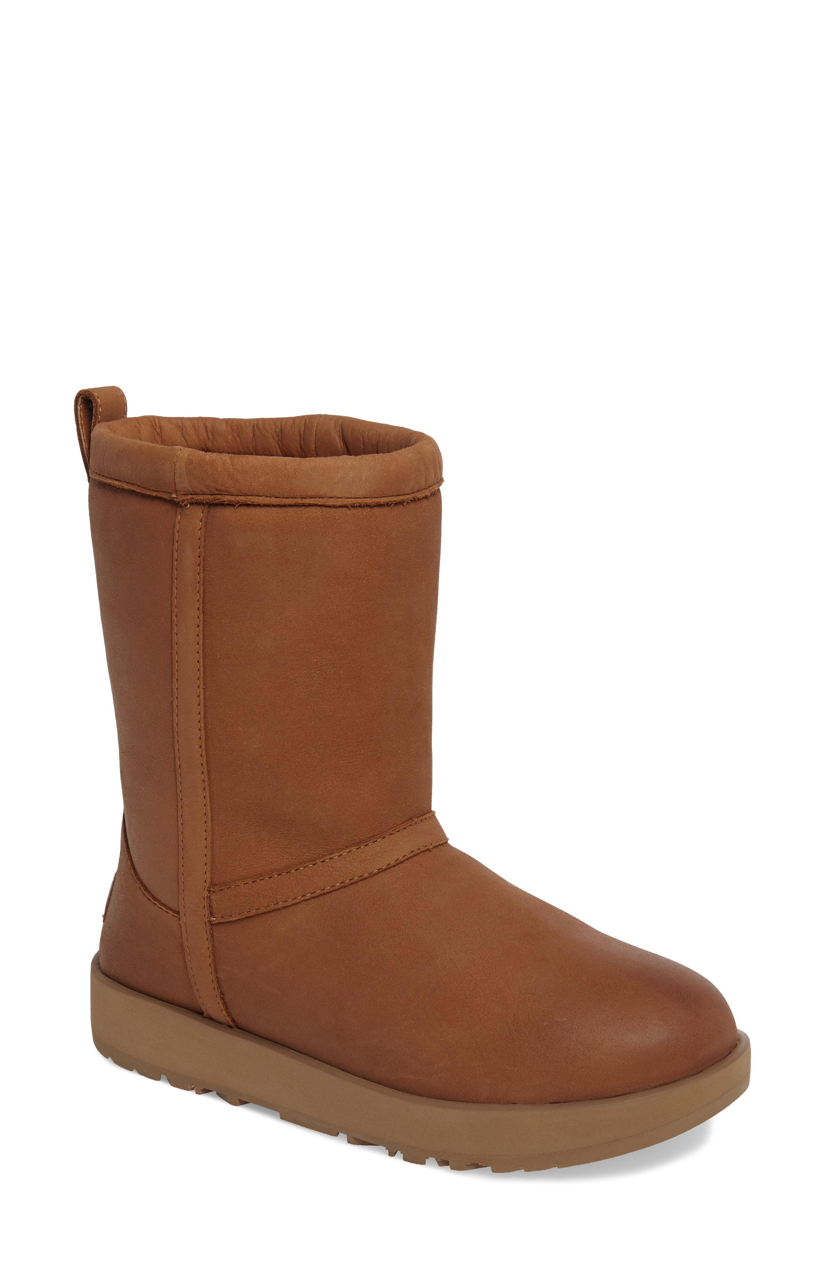 87d16920b75 Women's Classic Short Waterproof Leather & Sheepskin Booties in Chestnut  Leather