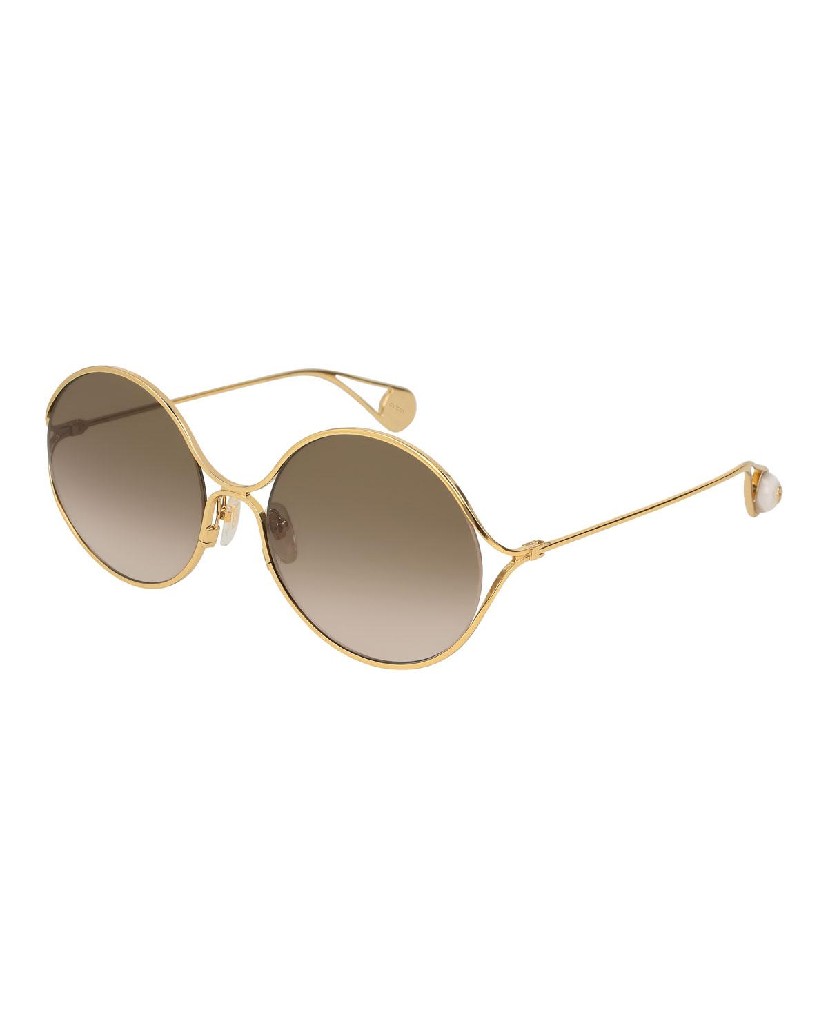 5c918aaf4585a Gucci 58Mm Gradient Lens Round Sunglasses - Gold  Turquoise  Red ...