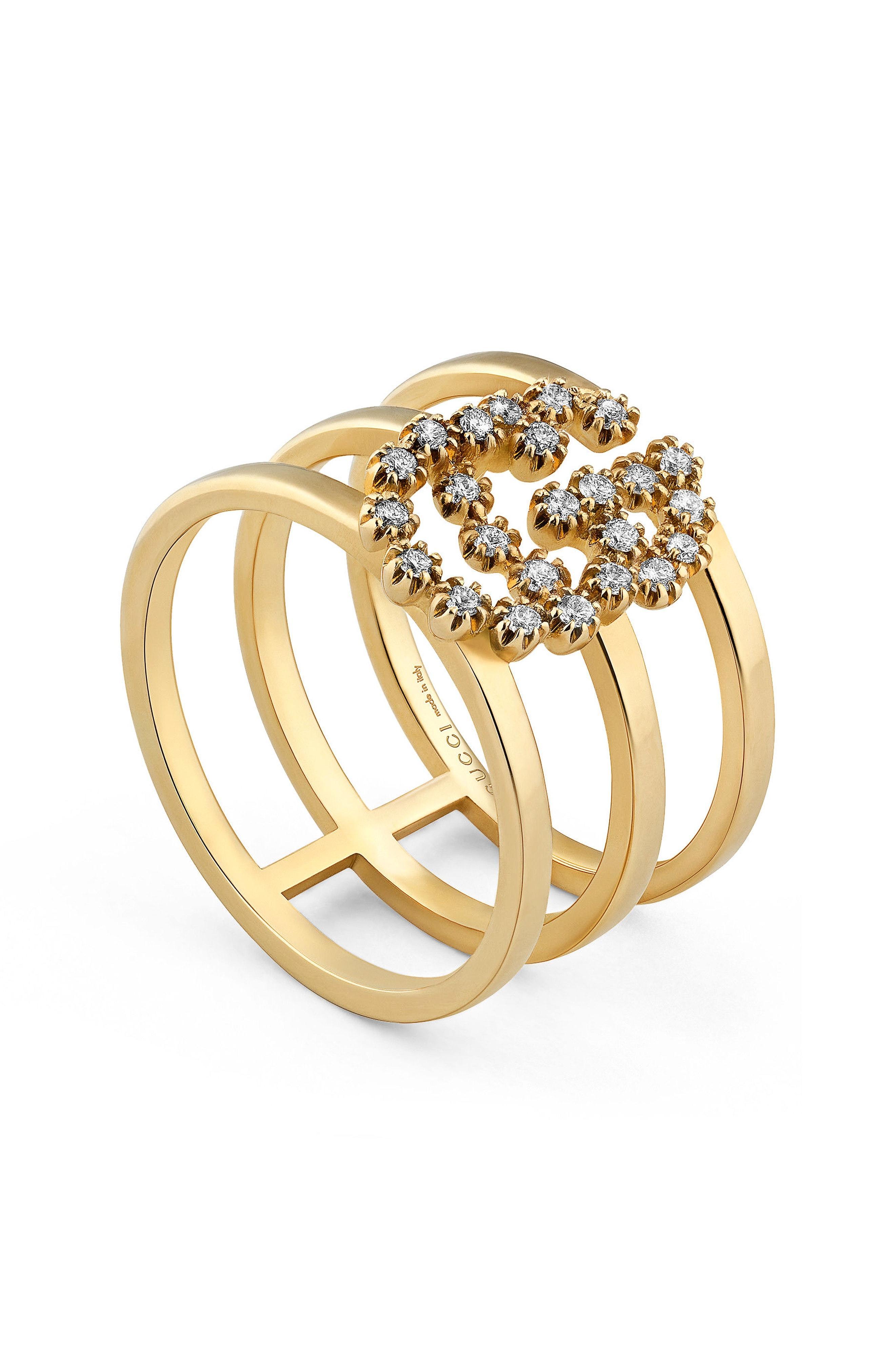 051f3638d5a32 18K Yellow Gold Running G Triple Band Diamond Ring