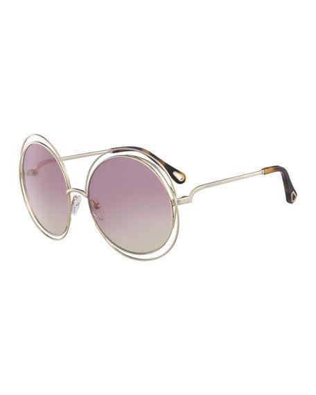 1271735abf21 ChloÉ Carlina Round Wire Metal Sunglasses In Rose