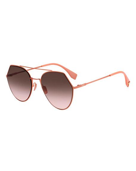 8390673acc7 Fendi Eyeline Mitered Aviator Sunglasses In Orange