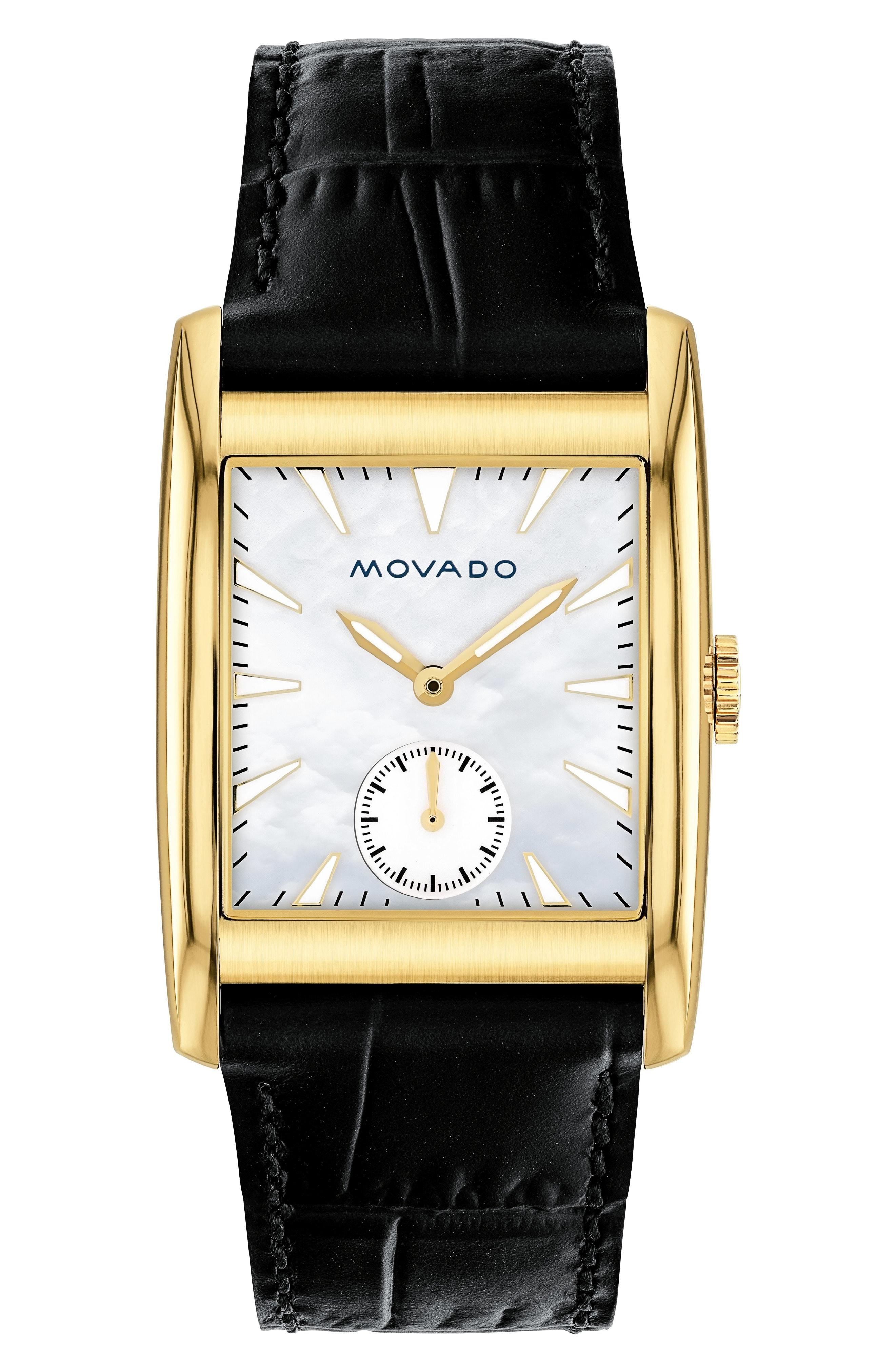 92930c39c Movado Heritage Leather Strap Watch, 38Mm In Black/ Mop/ Gold | ModeSens