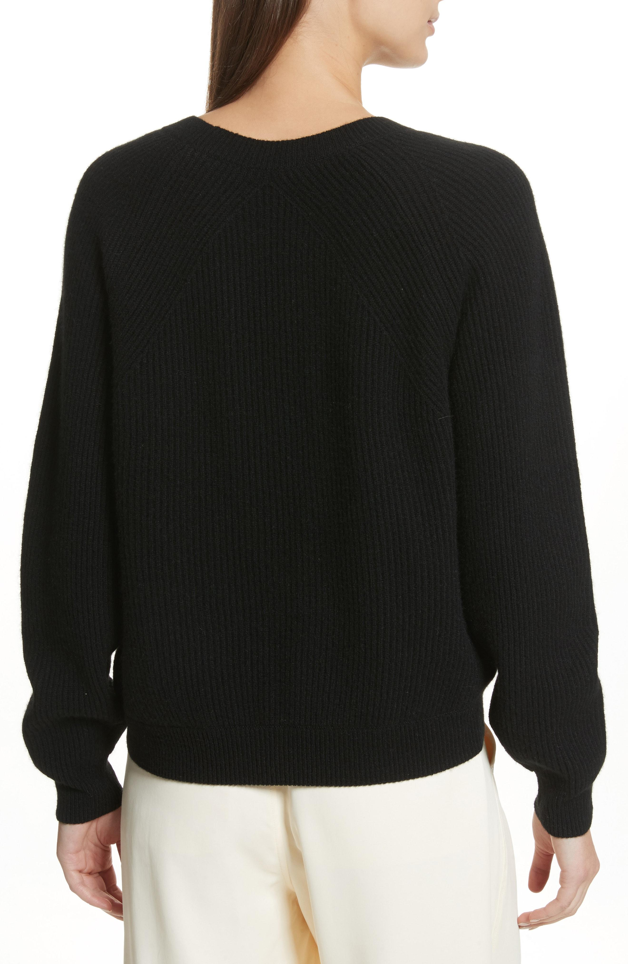 Diagonal Rib Wool & Cashmere Sweater In Black