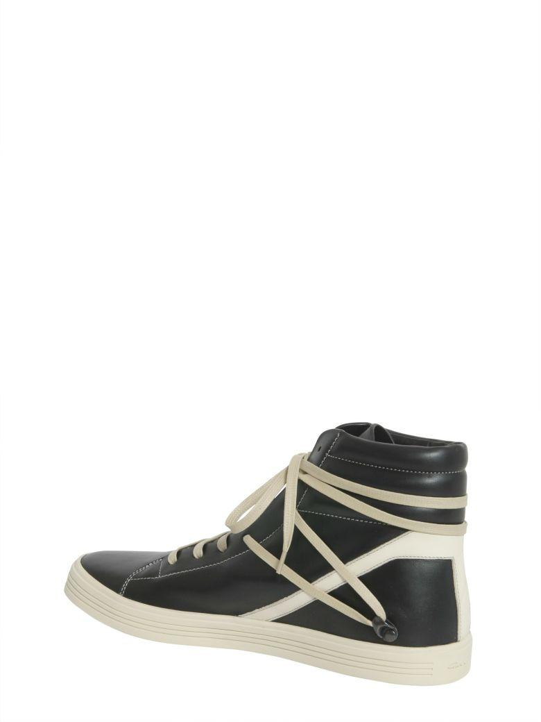 Rick Owens Geothrasher Two-Tone Full-Grain Leather High-Top Sneakers - Black