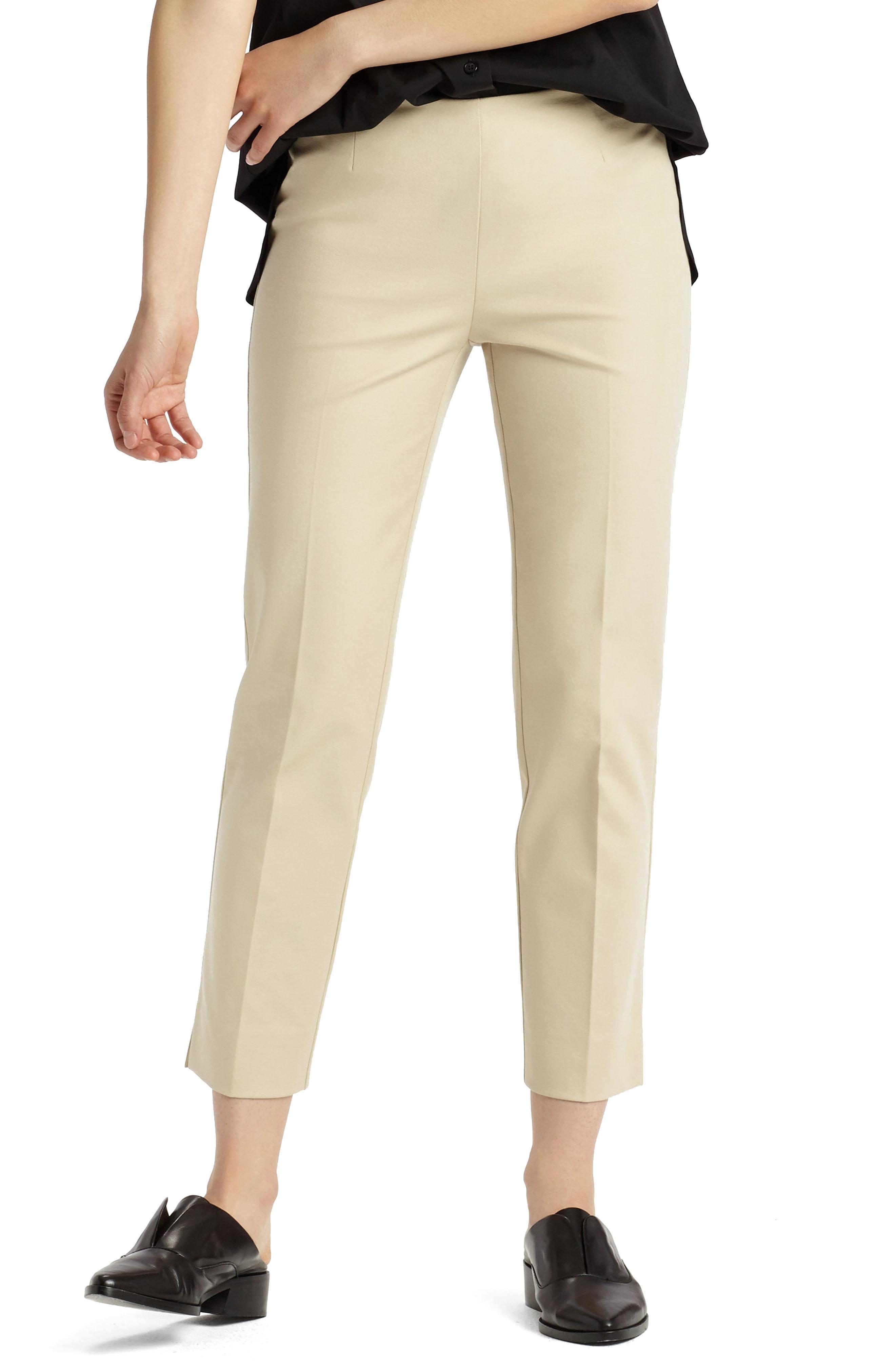a85bb44c2d Lafayette 148 Lexington Stretch Cotton Crop Pants In Khaki | ModeSens