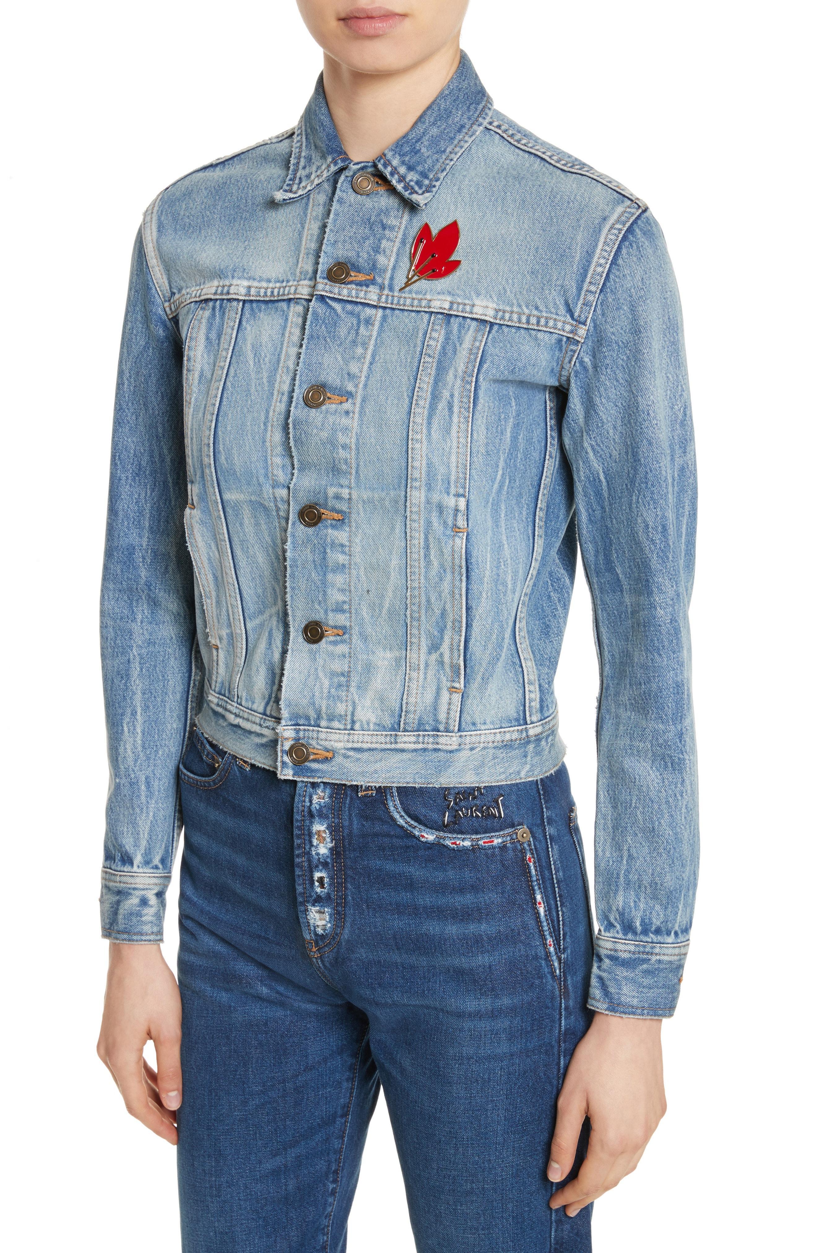 95d9262540 SAINT LAURENT. Original Ysl Military Patch Jean Jacket In Washed Blue ...
