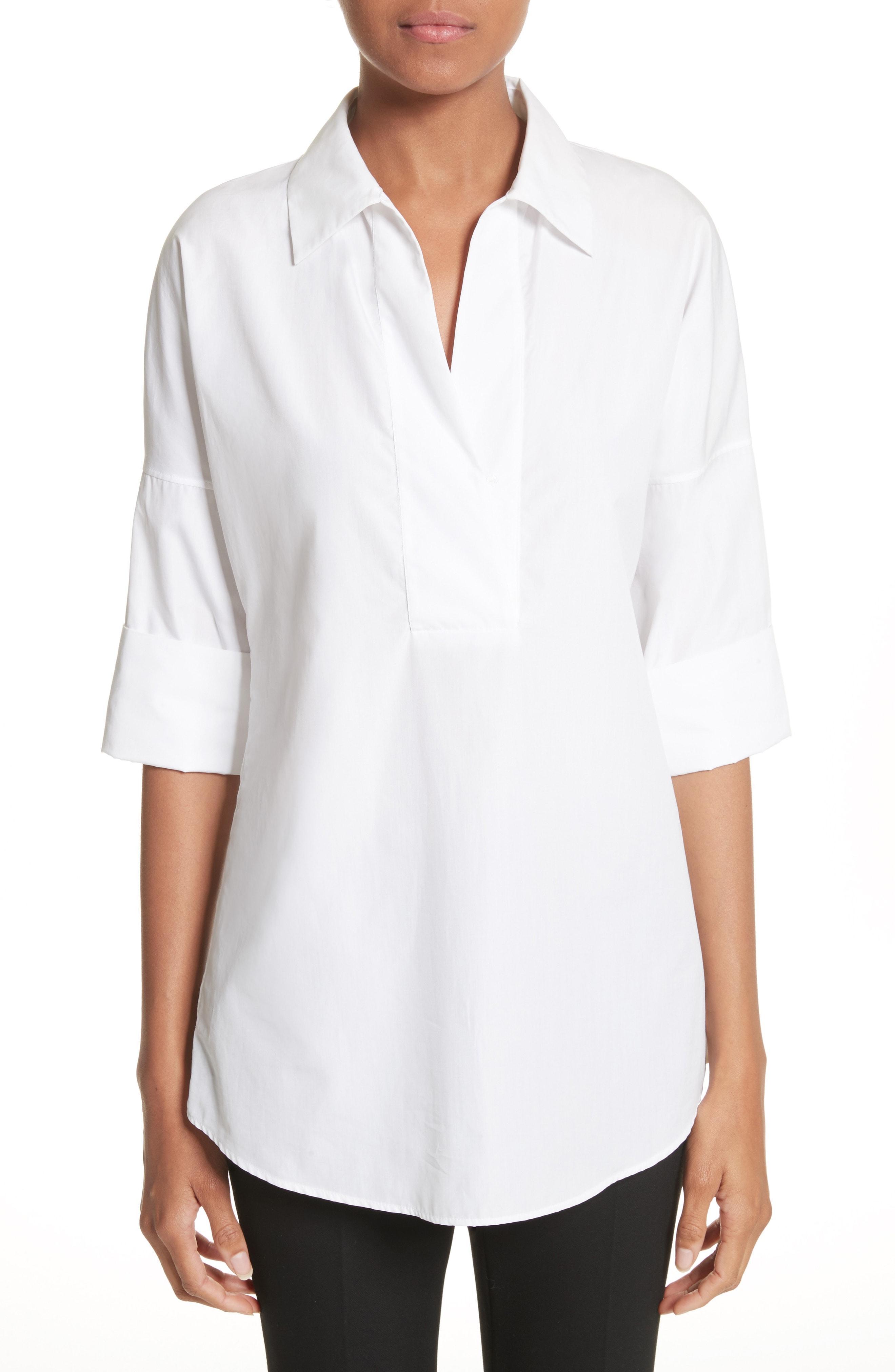 8f1a62cab Akris Punto Kimono-Sleeve Split-Neck Blouse, White | ModeSens
