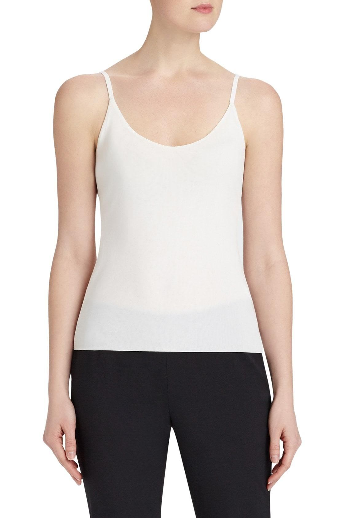 Lafayette 148 Plus Size Jersey Camisole W/ Adjustable Straps In Cloud