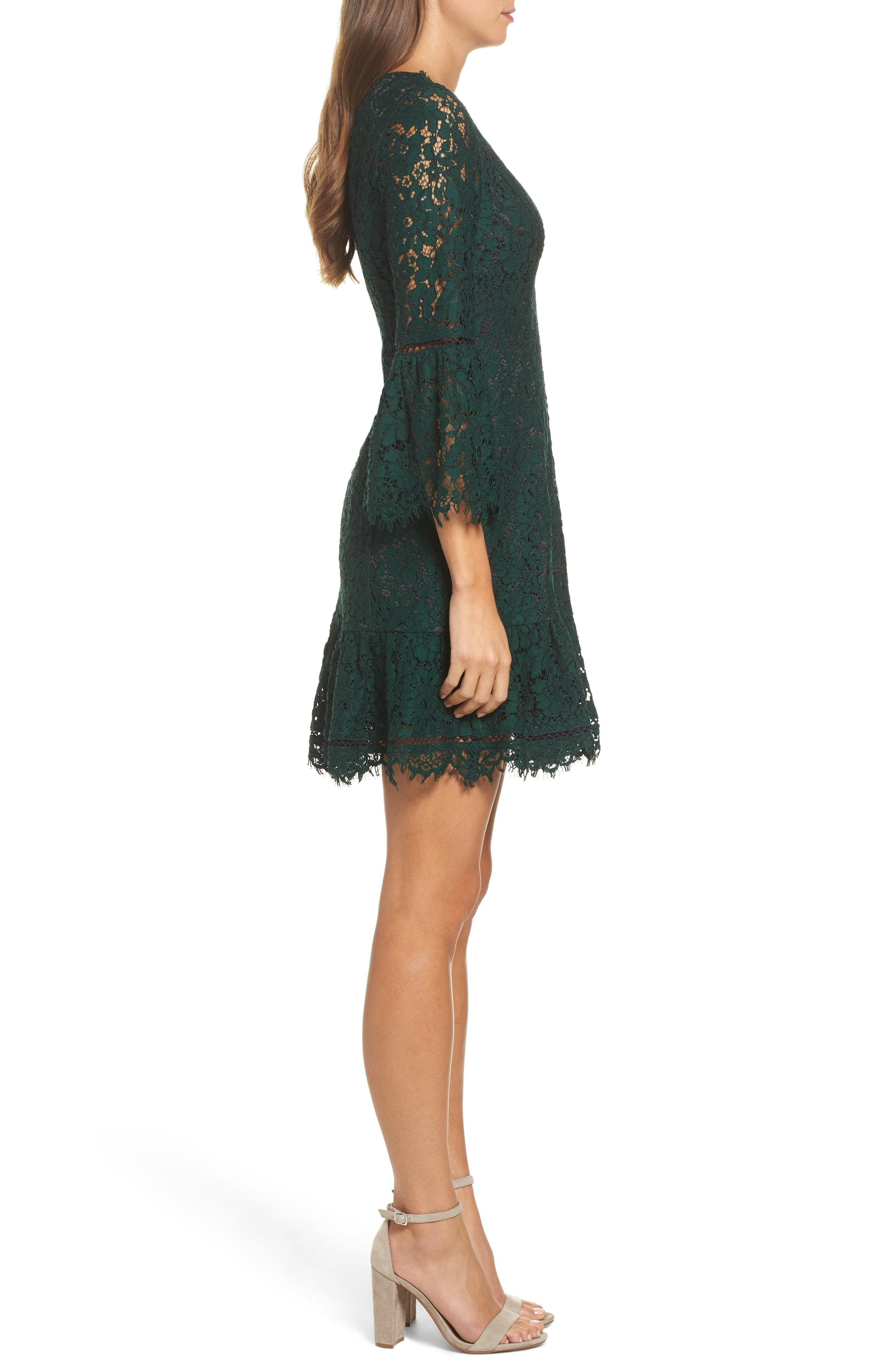29c4a2c3 Eliza J Bell Sleeve Lace Cocktail Dress In Green/ Black | ModeSens