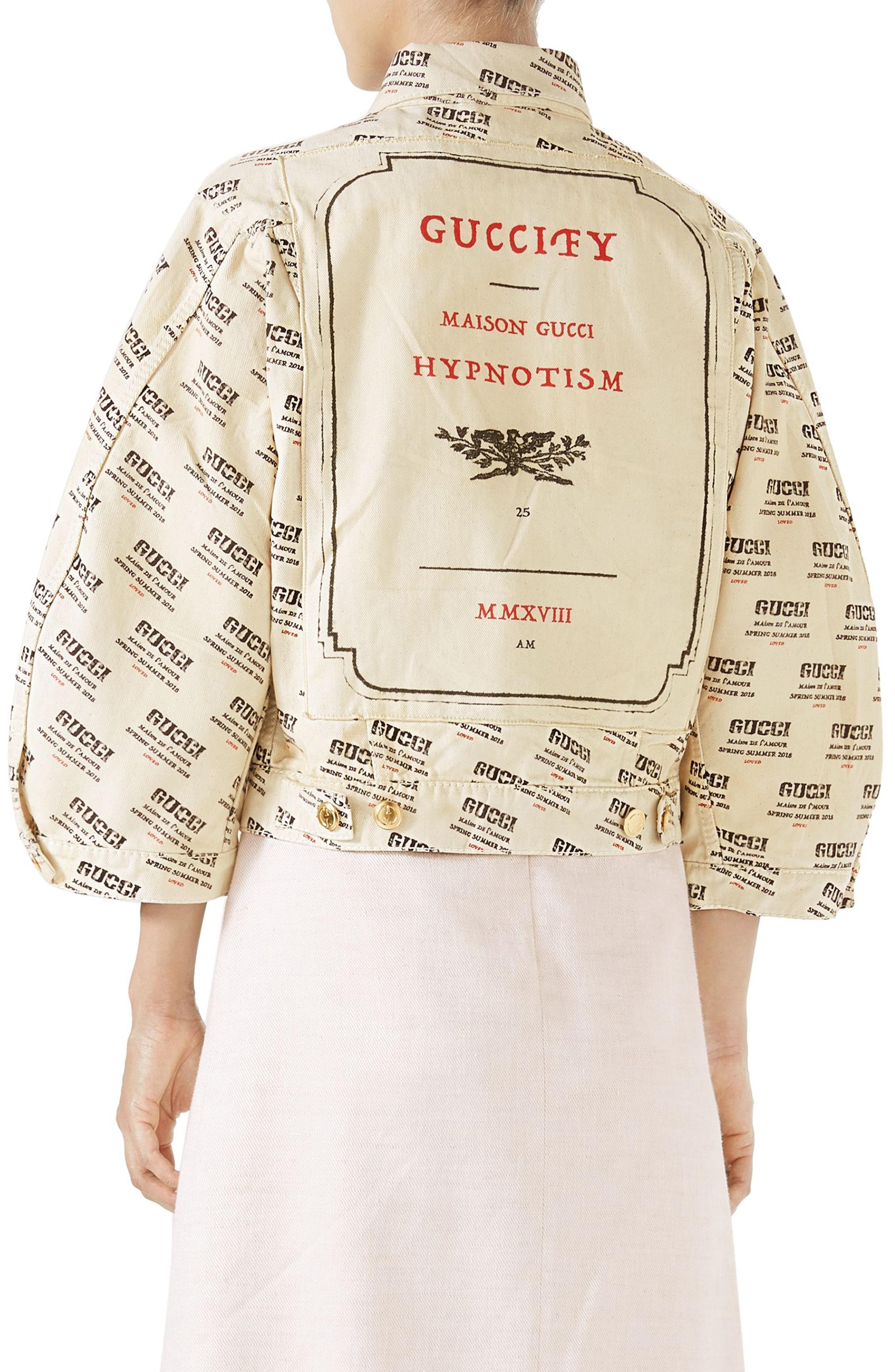 76f8aa520d7 Gucci Logo Stamp Print Denim Jacket In White In Beige