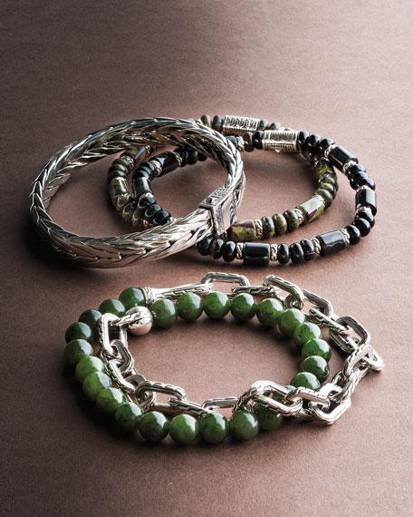 d114620e7911e9 John Hardy Sterling Silver Classic Chain Black Agate Beaded Bracelet In  Silver/ Banded Agate